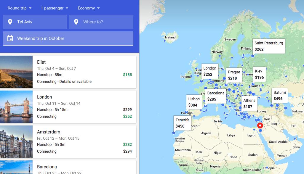 תוצאות חיפוש לפי תאריך באתר Google Flights