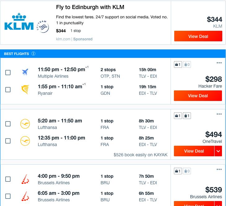 טיסות לאדינבורו