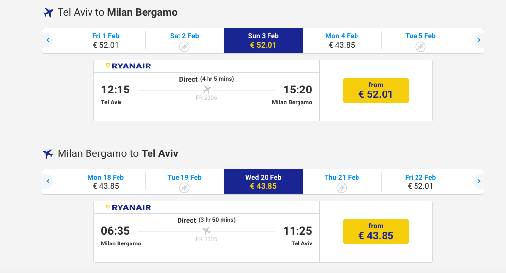 טיסה זולה למילאנו